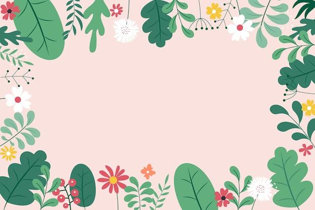 Abstrakter flacher illustrationshintergrund des frühlings und des sommers mit blumen