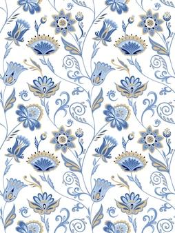 Abstrakter floraler vektor nahtloses muster asiatische marineblaue verzierung