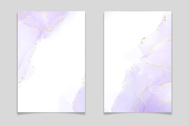 Abstrakter flüssiger aquarellhintergrund des luxuslavendels mit goldenen rissen