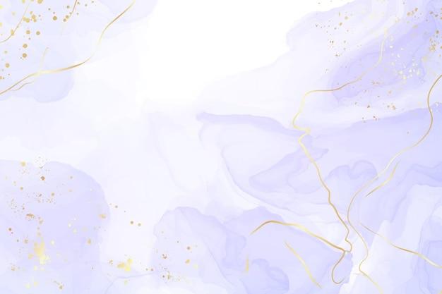 Abstrakter flüssiger aquarellhintergrund des luxuslavendels mit goldenen sprüngen. pastellvioletter marmoralkoholtintenzeichnungseffekt. vektorillustrations-designschablone für hochzeitseinladung.