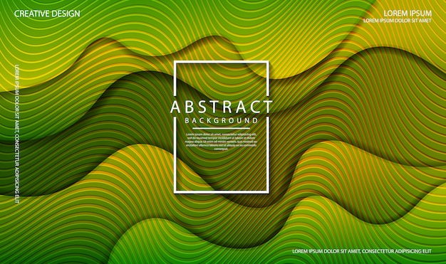 Abstrakter flüssiger hintergrund mit dynamischen wellenformen der grünen farbe