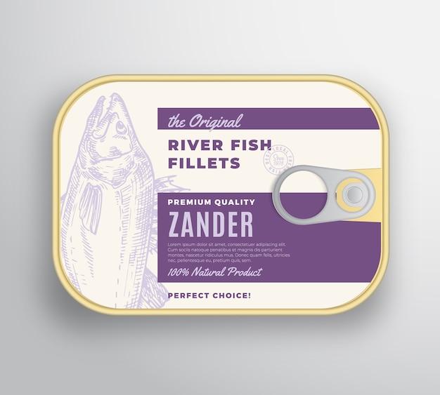 Abstrakter flussfischfilet-aluminiumbehälter mit etikettenabdeckung.
