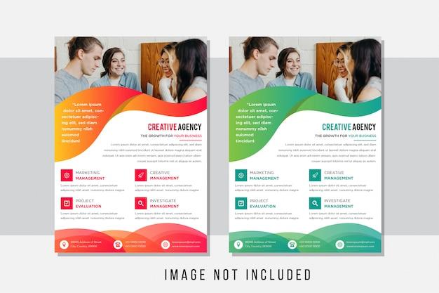 Abstrakter flyer mit orange und grün des wellenelementdesigns. design glatte wellenkurve. weißer hintergrund. quadratisches symbol. platz für foto.