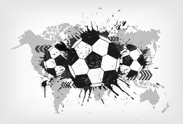 Abstrakter fußball des schmutzes mit weltkarte und staubpartikel auf grauem steigungshintergrund