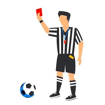 Abstrakter fußball-schiedsrichter mit roter karte und ball