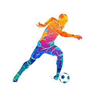 Abstrakter fußballspieler, der mit dem ball vom spritzen der aquarelle läuft. illustration von farben.