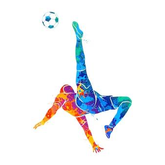 Abstrakter fußballspieler, der schnell einen ball vom spritzen der aquarelle schießt. illustration von farben.