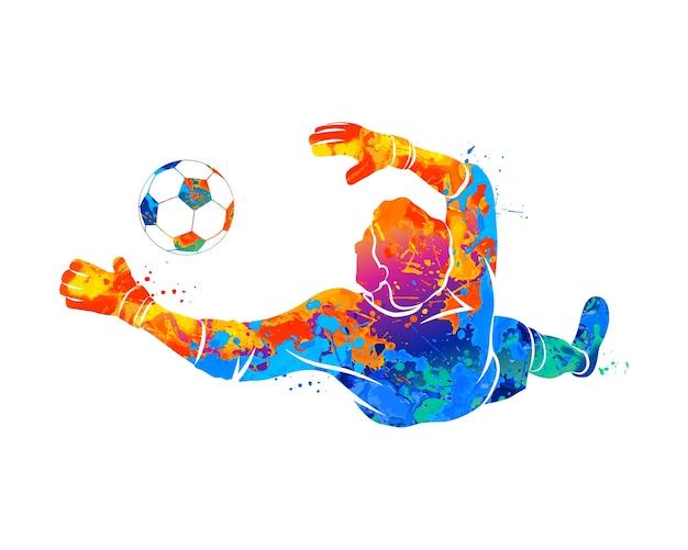 Abstrakter fußballtorhüter springt für den ball fußball von einem spritzer aquarelle. illustration von farben.