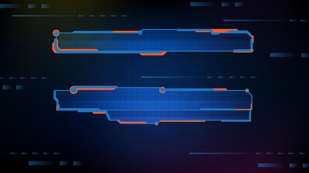 Abstrakter futuristisch blau leuchtender technologie-sci-fi-rahmen, hud-ui, untere dritte knopfleiste
