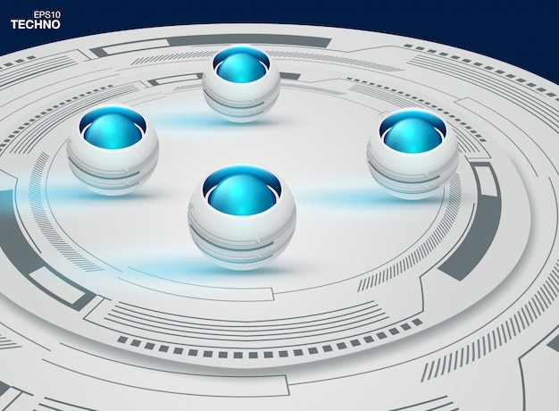 Abstrakter futuristischer augapfel auf leiterplatte, hohe computertechnologie