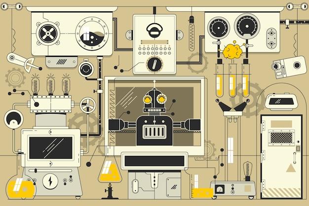 Abstrakter futuristischer elektronischer laborhintergrund dünne lineare anschlagillustration