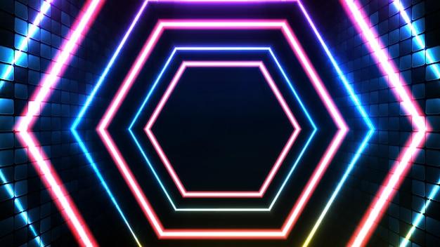 Abstrakter futuristischer hintergrund aus blauem neon leuchtender hexagonform und beleuchtungs-spotlgicht-bühnenhintergrund