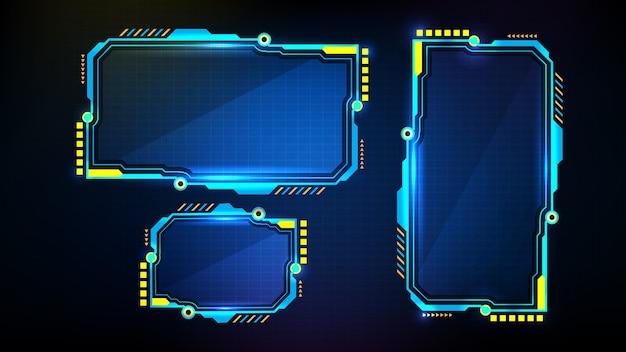 Abstrakter futuristischer hintergrund der blau leuchtenden digitalen zahlen. sci-fi-technologie hud ui-rahmen.