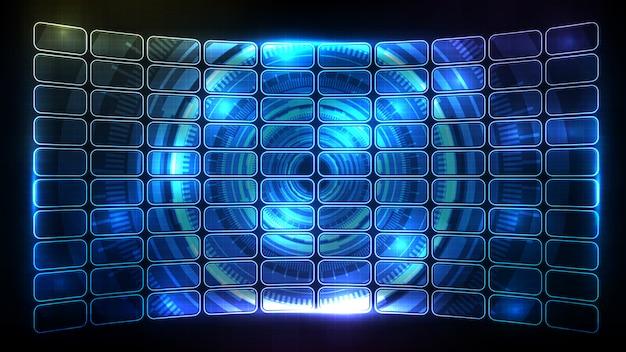 Abstrakter futuristischer hintergrund der blau leuchtenden hud-ui-rahmenelement-feldanzeige