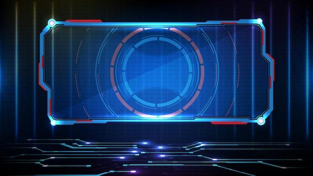 Abstrakter futuristischer hintergrund der blau leuchtenden technologie sci fi frame hud ui