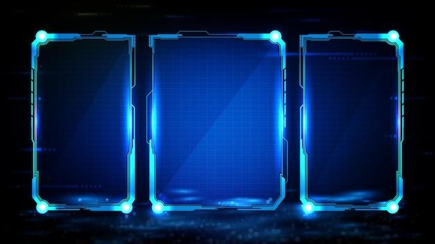Abstrakter futuristischer hintergrund der blau leuchtenden technologie sci-fi-rahmen hud ui
