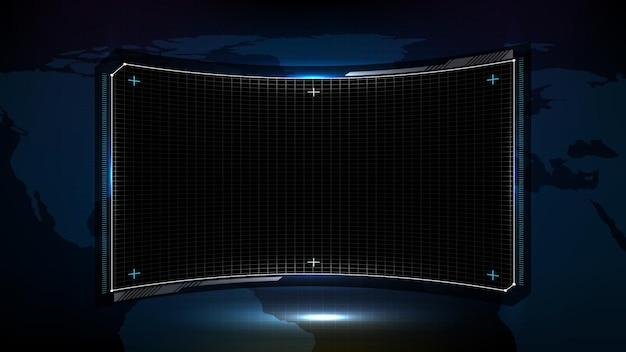 Abstrakter futuristischer hintergrund der blauen und schwarzen technologie-sci-fi-rahmendokument-softwareanzeige hud ui