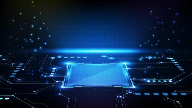 Abstrakter futuristischer hintergrund der kreisschnittstelle sci fi rahmen hud ui mit schaltungslinie