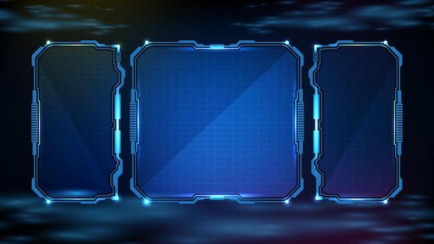 Abstrakter futuristischer hintergrund der sci-fi-rahmen-hud-ui der blau leuchtenden technologie