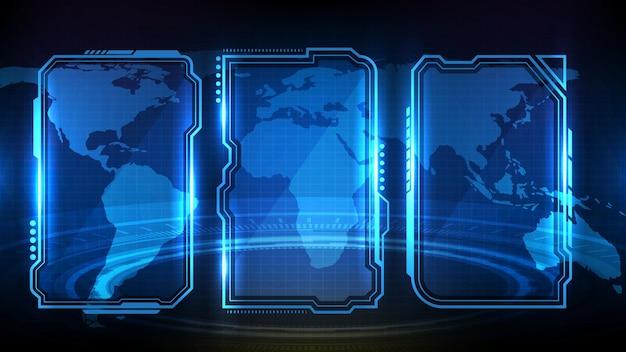 Abstrakter futuristischer hintergrund des blau leuchtenden technologie-science-fiction-rahmens hud ui-element