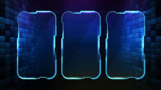 Abstrakter futuristischer hintergrund des blau leuchtenden technologie-science-fiction-rahmens hud ui