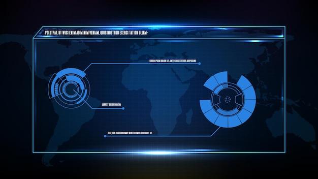 Abstrakter futuristischer hintergrund des blauen technologie-science-fiction-rahmens, hud-ui-thema, untere dritte schaltflächenleiste