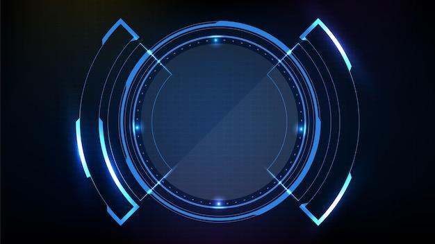 Abstrakter futuristischer hintergrund des runden leuchtenden technologie-sci-fi-rahmens des blauen kreises. hud ui