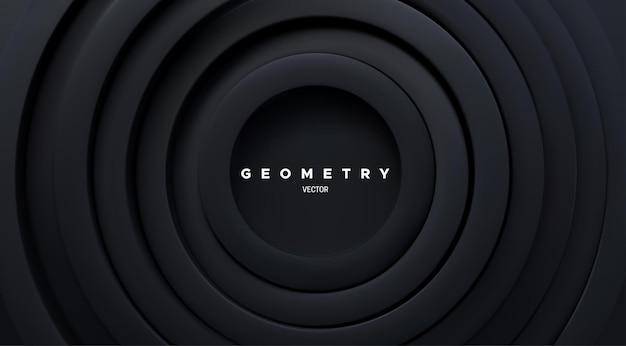 Abstrakter futuristischer hintergrund mit schwarzen konzentrischen ringen