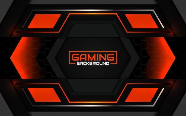 Abstrakter futuristischer schwarzer und hellorangefarbener gaming-hintergrund