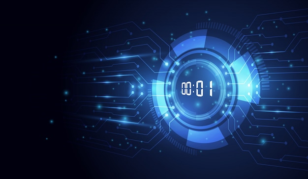 Abstrakter futuristischer technologie-hintergrund mit digital-zahltimer und -countdown