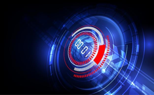 Abstrakter futuristischer technologie-hintergrund mit digital-zahltimer