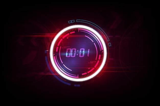 Abstrakter futuristischer technologie-hintergrund mit digital-zahltimerkonzept und -countdown.