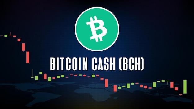 Abstrakter futuristischer technologiehintergrund bitcoin cash (bch) münze digitale kryptowährung und marktdiagrammvolumenindikator