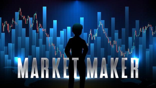 Abstrakter futuristischer technologiehintergrund der börse des market makers (mm)