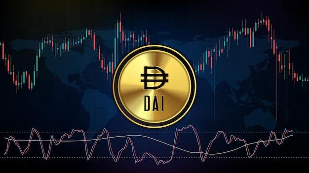 Abstrakter futuristischer technologiehintergrund der digitalen kryptowährung dai stable coin und stochastischer marktdiagrammvolumenindikator