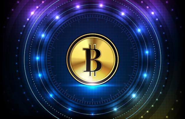 Abstrakter futuristischer technologiehintergrund der digitalen kryptowährung von bitcoin und der hud-bildschirm-ui-schnittstelle