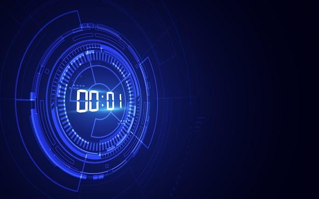 Abstrakter futuristischer technologiehintergrund mit digitalem zahlenzeitgeberkonzept und countdown
