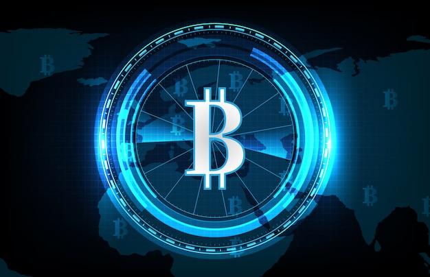 Abstrakter futuristischer technologiehintergrund von bitcoin und weltkarten, digitale kryptowährung weltweit