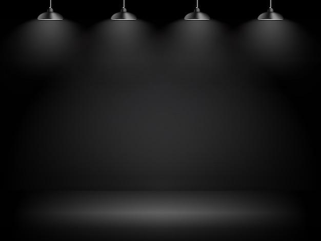 Abstrakter galerieschwarzer hintergrund mit beleuchtungs-lampe und copyspace