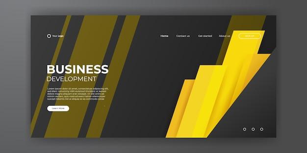 Abstrakter gelb-schwarzer hintergrund für die zielseiten-webvorlage. trendige abstrakte designvorlage. dynamische farbverlaufskomposition für cover, broschüren, flyer, präsentationen, banner. vektor-illustration