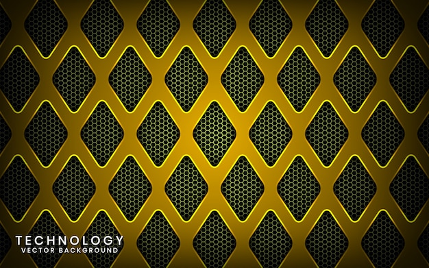 Abstrakter gelber hintergrund der technologie 3d mit glänzendem effekt, deckschichten auf dunklem raum mit metallischer raute