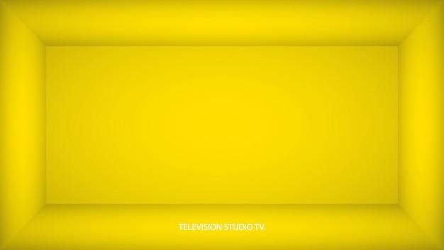 Abstrakter gelber leerer raum, nische mit gelber wand, boden, decke, dunkle seite ohne irgendwelche texturen, box draufsicht farblose 3d illustration