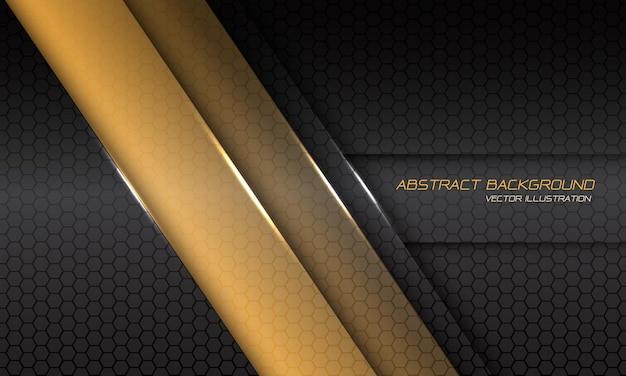 Abstrakter gelber metallischer linienschatten-schrägstrich auf dunkelgrauem sechsecknetz mit modernem futuristischem hintergrund des textdesigns.