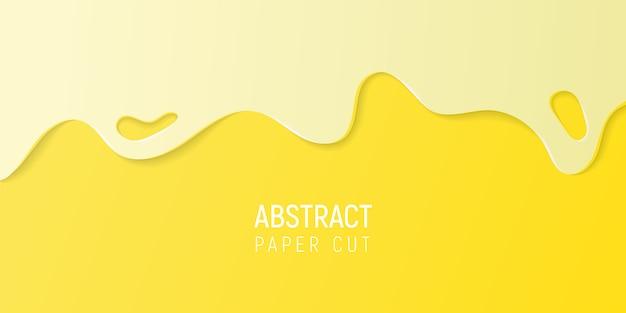 Abstrakter gelber papierschnitthintergrund. fahne mit gelbem papier des schlammes schnitt wellen.