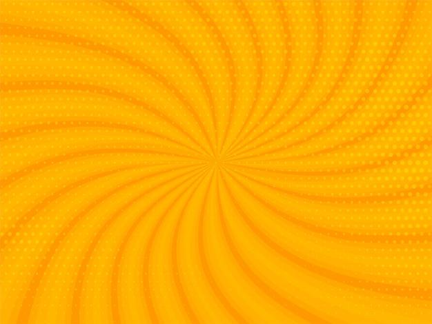 Abstrakter gelber strahlenhintergrund mit halbtonentwurf