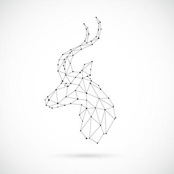 Abstrakter geometrischer antilopenkopf im polygonalen stil. geometrische lineare gazelle. vektor-illustration.