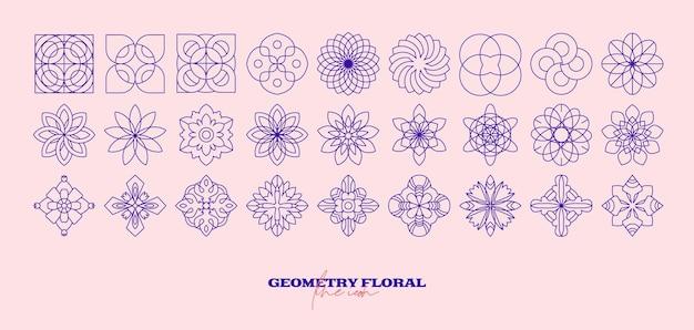 Abstrakter geometrischer blumensatz. einfaches liniensymbol. einfarbiger polygonaler pflanzenvektor.