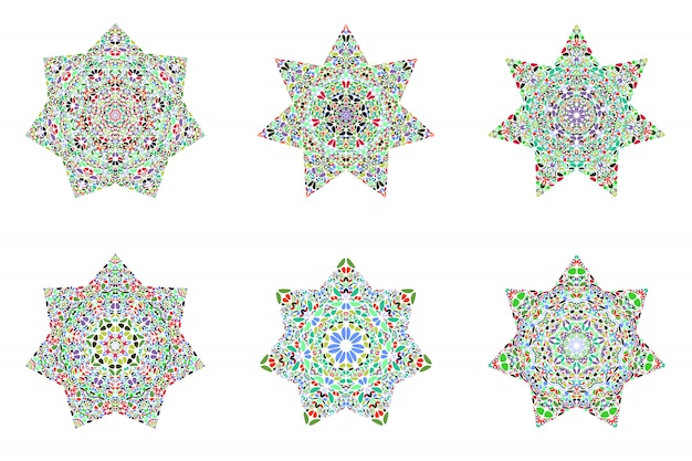 Abstrakter geometrischer blumenverzierungsstern-polygonsatz