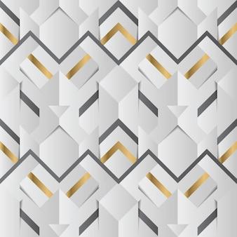 Abstrakter geometrischer dekor streift weißes und goldenes nahtloses muster