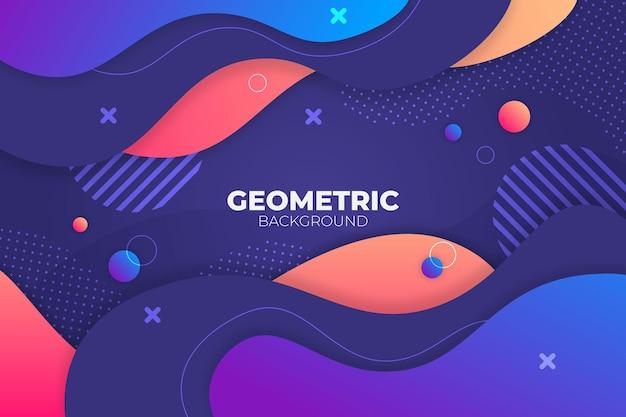 Abstrakter geometrischer flüssiger blauer und orange hintergrund